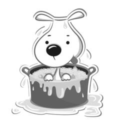Dog in bath vector