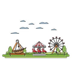 Doodle carnival with funny mechanical ride games vector