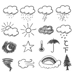 doodle of weather icons vector image