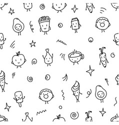 doodle style food seamless pattern vector image