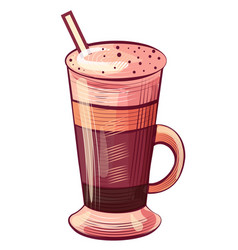 drawing coffee in glass with tube latte vector image