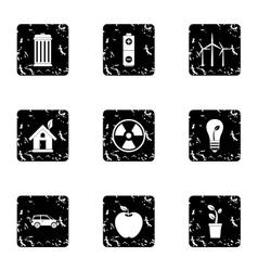 Ecology icons set grunge style vector