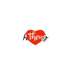 European capital city athens love heart text logo vector