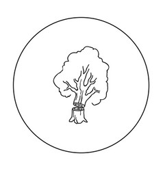 Falling tree icon in outline style isolated on vector