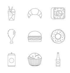 Farinaceous food icons set outline style vector