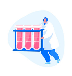 Female nurse character carrying test tubes vector