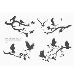 figure set flock birds on tree branch vector image