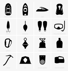 Fishing and camping icons vector