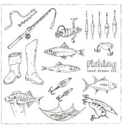 Fishing tackle tools Sketches Hand-drawing vector