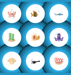 flat icon nature set of shark fish seashell and vector image