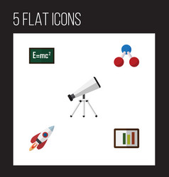 Flat icon science set of nuclear scope diagram vector
