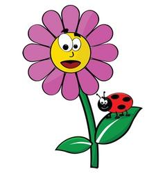 flower and ladybug vector image