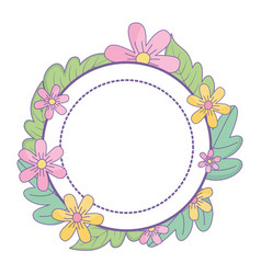 Flowers and leaves circle design vector