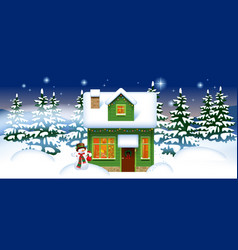 green wooden house with a snowman in the winter vector image