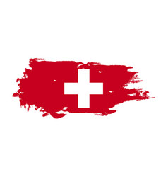 grunge brush stroke with switzerland national vector image