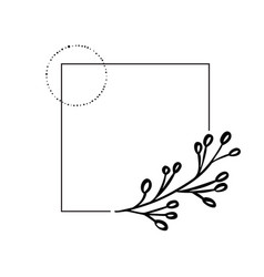 hand drawn black frame with leaves and branch on a vector image