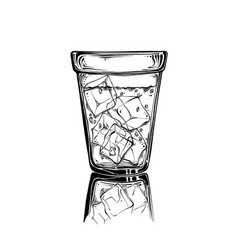 hand drawn sketch glass with ice in black color vector image