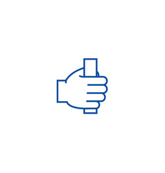 hand holding line icon concept hand holding flat vector image