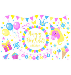 happy birthday modern cute icons set cartoon flat vector image