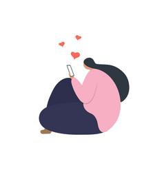 Happy girl in love talking on phone vector