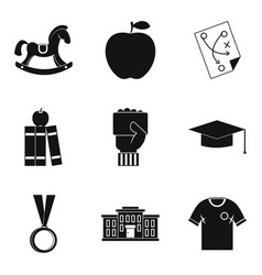 Higher school icons set simple style vector