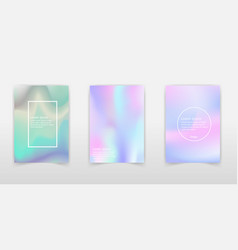holographic backgrounds set smooth multicolor vector image
