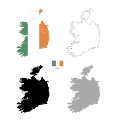 Ireland country black silhouette and with flag on vector image