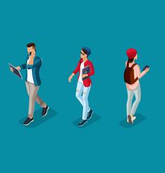 isometric 3d teenagers using hi tech gadgets vector image