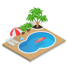 Isometric aqua park with water pool vector