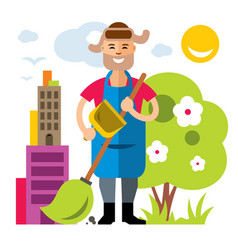 Janitor flat style colorful cartoon vector
