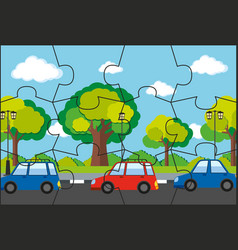 Jigsaw pieces of cars on road vector
