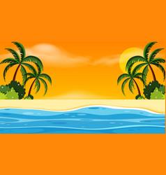 landscape background design with seaside at sunset vector image