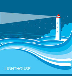 lighthousesea waves blue night background vector image