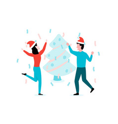 man and woman celebrate new year in xmas hats vector image