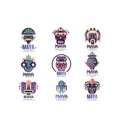 maya logo original design set emblems with ethnic vector image