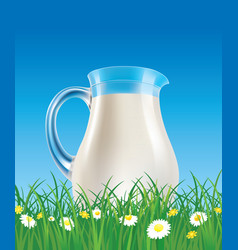 Milk jug on grass with flowers vector