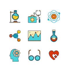 minimal lineart flat medical iconset chemical vector image