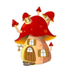 Mushroom house fabulous vector