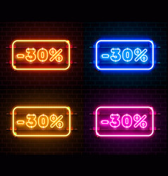 neon 30 off text banner color set night sign vector image