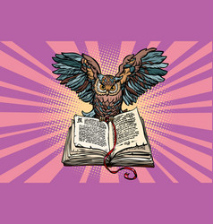 Owl on an old book a symbol of wisdom and vector