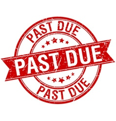 Past due grunge retro red isolated ribbon stamp vector