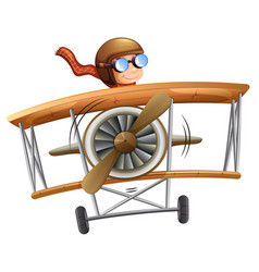 Person flying plane white background vector