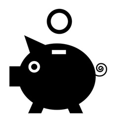 Piggy Bank Black Pig Icon with Coin Flat Design vector