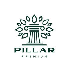 pillar tree leaf amp column greek ionic logo icon vector image