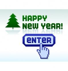 Pixel new year vector