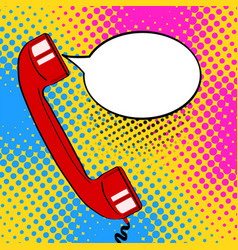 pop art background red old phone handset and vector image