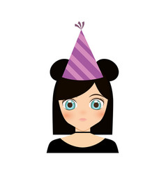 portrait girl anime with party hat vector image