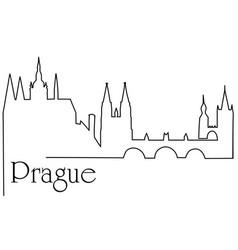 Prague city one line drawing background vector