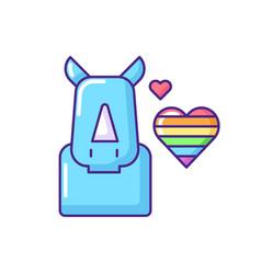 Pride rhinoceros rgb color icon vector
