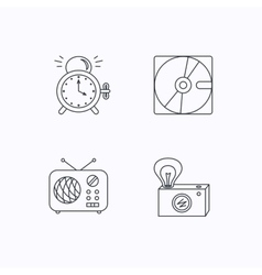 Radio retro camera and alarm clock icons vector image